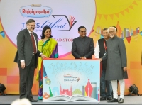 TLF Delhi opening: with Vice President Hamid Ansari,CEO Times Group Raj Jain, Sagarika Ghose, Nov.2015