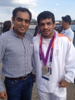 With the amazing Sushil Kumar, minutes after he won his silver medal at the 2012 Olympics. London: August, 2012.