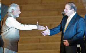 Prime Minister Narendra Modi shakes hand with his Pakistani counterpart Nawaz Sharif.