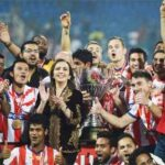 Atletico de Kolkata pose for a picture as they celebrate after winning the Indian Super League final against Kerala Blaster FC in Mumbai. (PTI Photo)