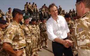 File photo of British Prime Minister Tony Blair meeting troops in Iraq