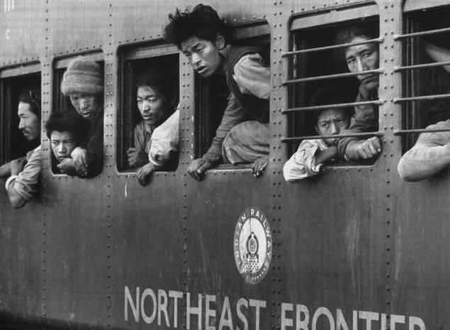 People fleeing in a train in Assam from the 1962 India-China war on November 1, 1962. (Getty Images photo)